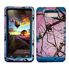 Cellphone Trendz High Impact Hybrid Rocker Silicone Case for Motorola Droid Maxx XT1080M / Droid Ultra XT1080 – Hunter Series Pink Camo Mossy Real Oak Tree Case Hard Shell (Blue)
