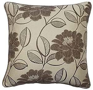 Relleno Beige y crema chenilla bordado floral hojas 2255CM cojín con