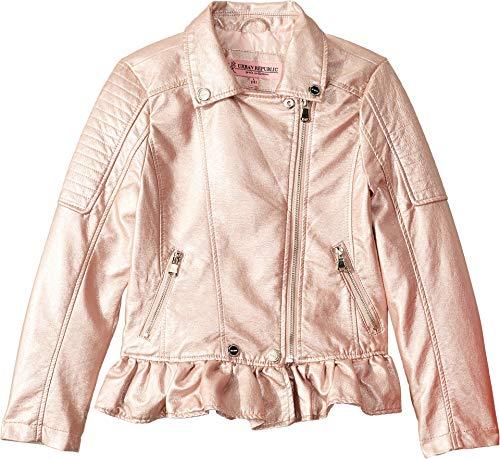 Urban Republic Kids Girl's Metallic Faux Leather Moto Jacket (Little Kids/Big Kids) Rose 7-8 (Urban Moto Jacket)