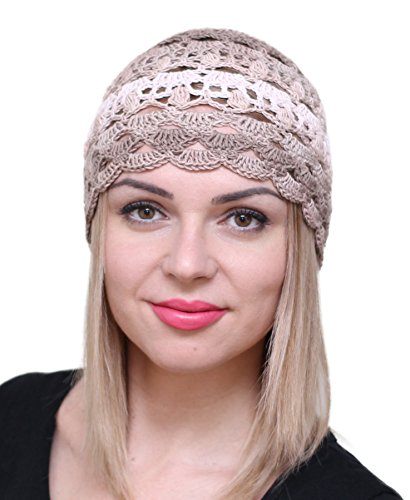 NFB Fascinator Hats for Women Ladies Summer Beanie Cotton Cloche Crochet caps (Сappuccino)
