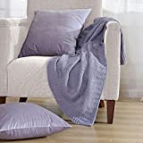 Home Soft Things BOON Checker Cable Throw with 2 Pillow Shells Combo Set, Lilac Grey
