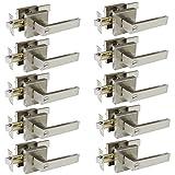 10 door handle - Probrico Square Bedroom and Bathroom Privacy Door Levers Lockset Keyless Door Lock Handle, Pack of 10