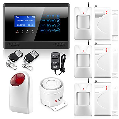 Wolf-guard LED Touch Keypad Wireless GSM Voice Dial Smart Home Security Alarm System Kit 3pcs Wireless PIR Motion Sensor 3pcs Wireless Door/window Gap Sensor