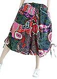 Romacci Women Cropped Wide Leg Baggy Pants Vintage Print Drawstring Hem Loose Lantern Trousers