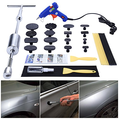 Motorcycle Hammer (Geli Paintless Dent Repair Remover Kit Dent Puller Pro Pdr Slide Hammer Tools with 16pcs Thickened Black Tabs for Diy Automobile Body Hail Damage Removal)