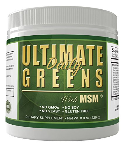 (Ultimate Daily Greens with MSM Powder 2000mg 8oz 113 servings Super Foods Supreme Green Grasses Vegetables Dietary Supplement Drink 1 month supply)