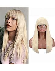 Kalyss Blonde Wigs with Hair Bangs for Women Heat Resistant Long Straight Synthetic Hair Wigs Super Soft and Natural Looking