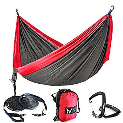 "Winner Outfitters Double Camping Hammock With Tree Straps - Lightweight Nylon Portable Hammock, Best Parachute Double Hammock For Backpacking, Camping, Travel, Beach, Yard Charcoal/Red, 78""W x 118""L"