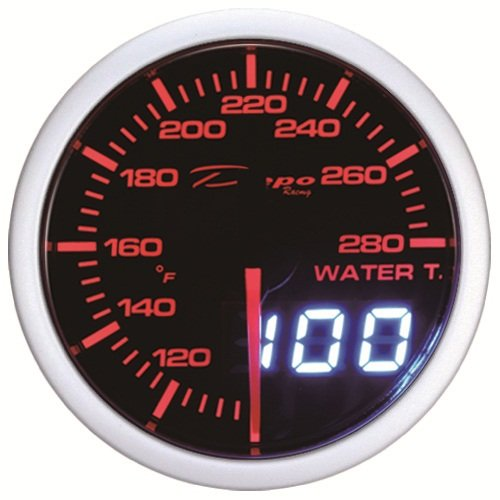 52mm Digital Depo Racing Red White LED Digital Water Temp Gauge Fahrenheit (Digital Autometer compare prices)