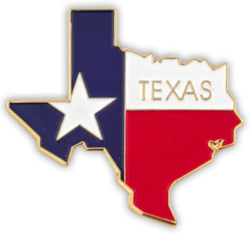 PinMart State Shape of Texas and Texas Flag Lapel Pin
