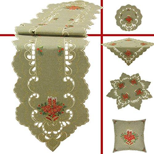 Quinnyshop Manteles de mesa, caminos de mesa, blondas, cobertores acolchados, diseño de velas de Navidad, campanas, flores...