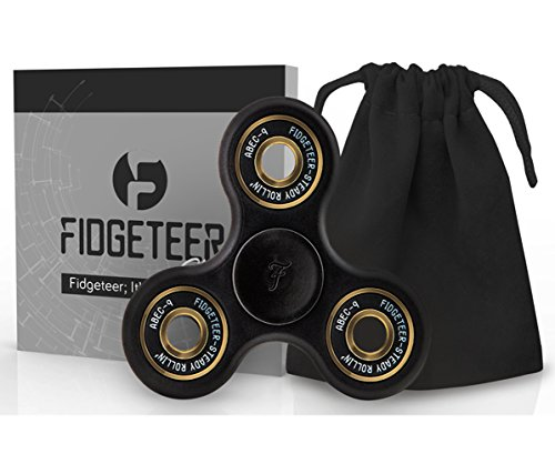 Fidget Spinner Toy with Pouch and Warranty by Fidgeteer (Street Black)