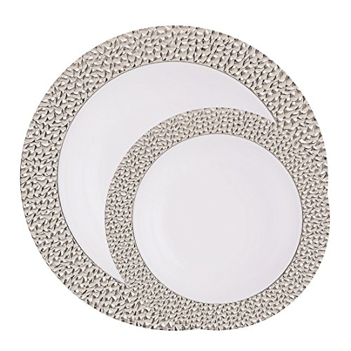 Posh Setting Hammered Collection Combo Pack China Look White/Silver Plastic Plates,(Includes 4 Packs of 10 Plates, 20 10.25'' Dinner Plates and 20 7.25'' Salad Plates), Fancy Disposable Dinnerware