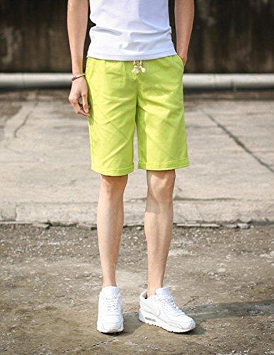 【WildCats】メンズ夏用5分丈ショートパンツ清涼の夏に必須アイテム色・サイズが豊富通気性・吸水性も抜群!-YellowXXXL(エコバッグ付き)