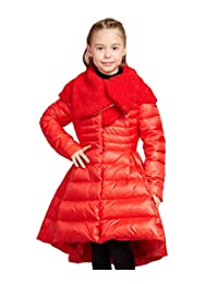 Tortor 1Bacha Kid Girls' Solid Sherpa Collar Long Winter Down Swing Dress Coat