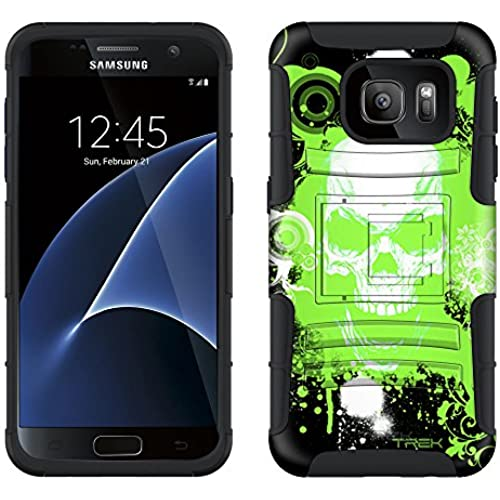 Samsung Galaxy S7 Armor Hybrid Case Green Skull on Black 2 Piece Case with Holster for Samsung Galaxy S7 Sales