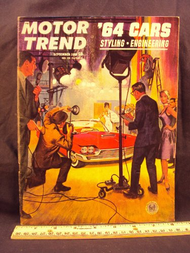 (1963 63 September MOTOR TREND Magazine (Features: AC Ford Cobra, Fiat 1500 Cabriolet, Cadillac V-16, Dixie 400 Race, & Rebirth of sedan)