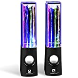 Computer Speaker, Water Dancing Speakers LED Speakers Water Fountain Speakers Christmas Gift for Kids (3.5mm Audio Plug, 4 Colored LED