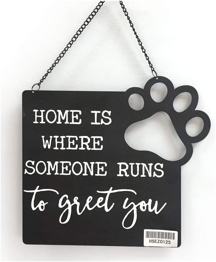 DesMa Group, LLC Home is Where Someone Runs to Greet You Metal Sign, 8.63