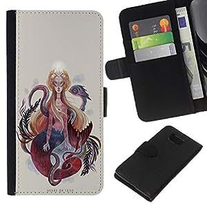 EJOY---La carpeta del tirón la caja de cuero de alta calidad de la PU Caso protector / Samsung ALPHA G850 / --Pintura Mujer Serpiente Serpiente Espiritualidad Arte