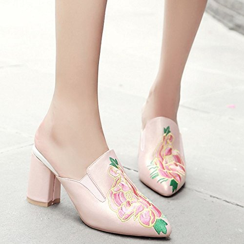 Chaussures Pink Zanpa Sandales Lt Mules Embroidered Femmes Rn44FqEHzw