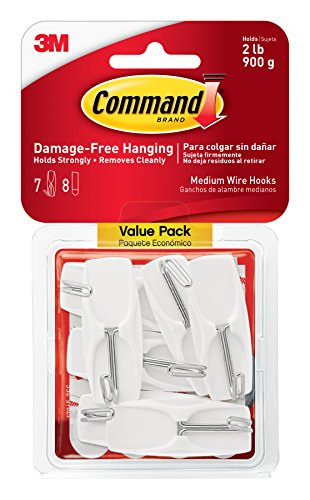 Command Wire - Command Medium Wire Toggle Hook Value Pack, White, 6-Hooks