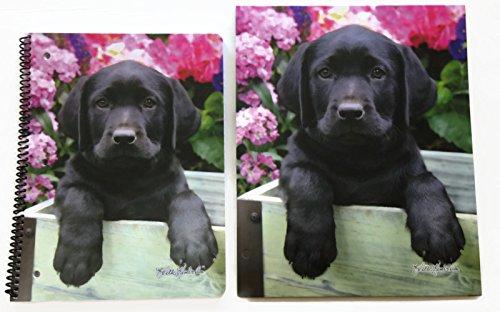 Black Labrador Puppy Dog 2 Piece Bundle Spiral Bound 80
