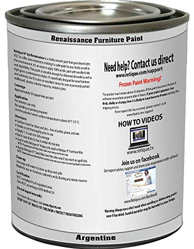 Retique It Chalk Furniture Paint by Renaissance DIY, 16 oz (Pint), 03 Argentine