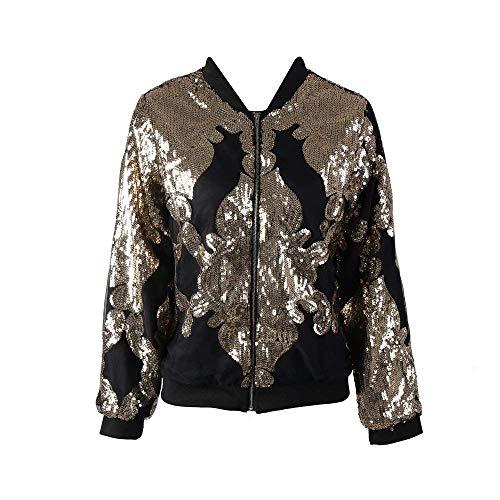 Biker Cerniera Jacket Primaverile Oro A Chiusura Moda Giacca Fiore Donna Vintage Cappotto Outwear Stampa College Bomber Giaccone Autunno Outdoor YwvRqC