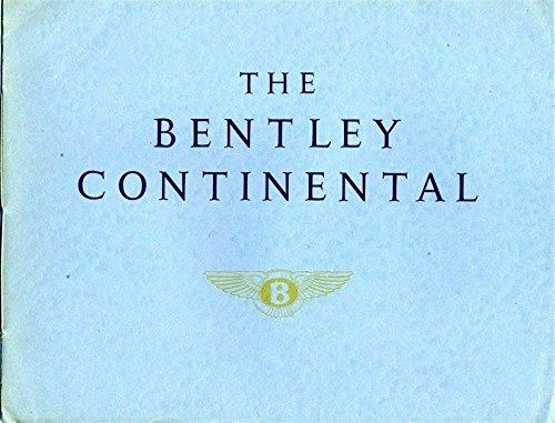 The Bentley Continental Sales Brochure 1950's Sports Saloon Park Ward & Mulliner