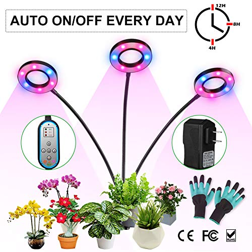 Grow Light, Growing Lamp for Indoor Plants with Timer Auto ON & Off, High Power LED, 8 Dimmable Levels, Plant Lights 4/8/12H Memory Timing for Hydroponics Greenhouse Gardening Succulents Extra Gloves