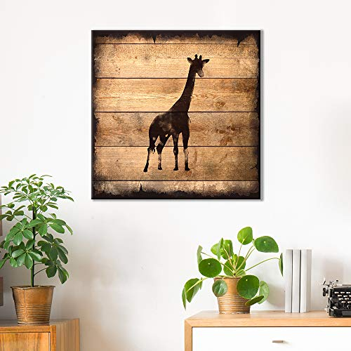 Square Giraffe Silhouette on Rustic Wood Board Texture Background