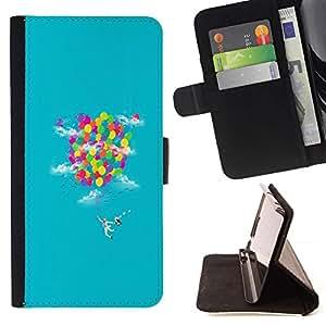 Momo Phone Case / Flip Funda de Cuero Case Cover - Rainbow Ballons;;;;;;;; - Apple Iphone 4 / 4S