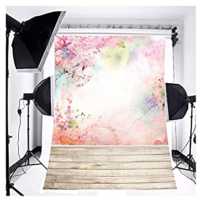 FUT 3x5ft Romantic Spring Flower Peach Blossom Pink Flower Wooden Floor Wedding Backdrop Background for Wedding, Baby, Newborn, Personal Photo GradeAAAAA