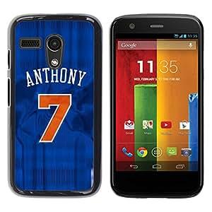 Anthony 7 Basketball Caja protectora de pl¨¢stico duro Dise?ado King Case For Motorola Moto G 1 1ST Gen