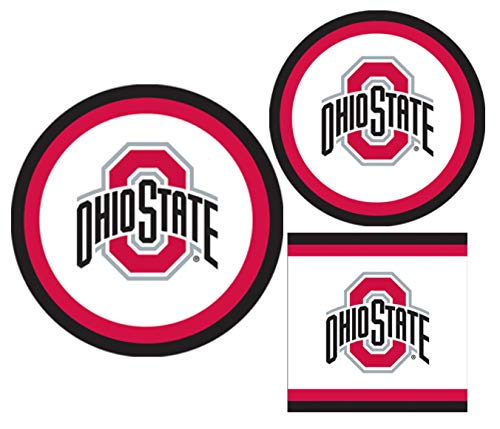 Ohio State Buckeyes Party Supplies - Bundle Includes Paper Plates and Napkins for 10 People -