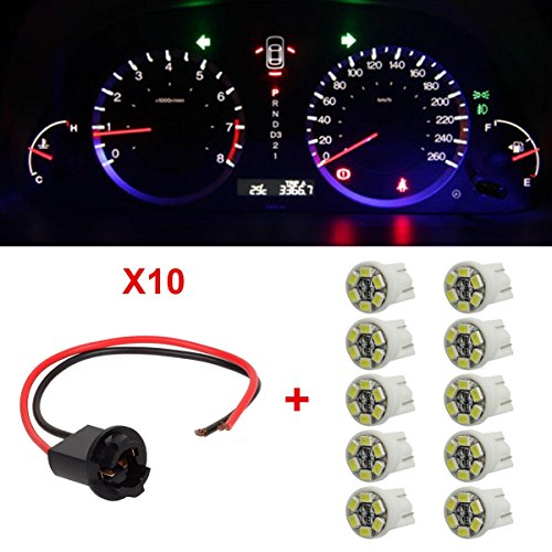 Ford Mustang 02 Extensions - Partsam 10xT10 194 White 6-LED Instrument Bulb Socket Extension Connector Wire Harness