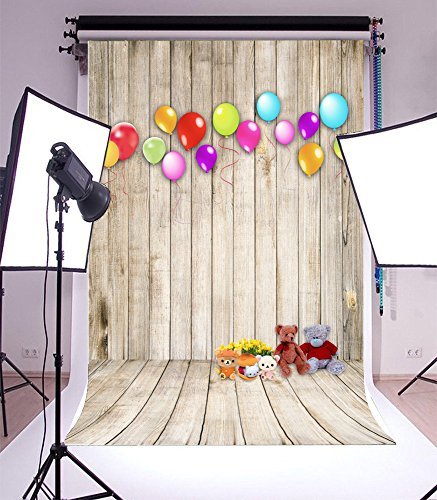 Laeacco 5x7ft Vinyl Photography Background Color Ballons Lovely Teddy Bear Toys Florets Wooden Wall Floor Children Kids Newborn Baby Birthday Party Backdrop Video Studio Props 1.5x2.2m