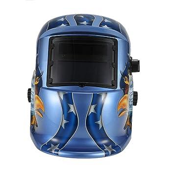 Denret3rgu Eagle Pro Solar Auto Oscurecimiento Soldadura Casco Arco Tig Mig Molienda Máscara de soldador Blue