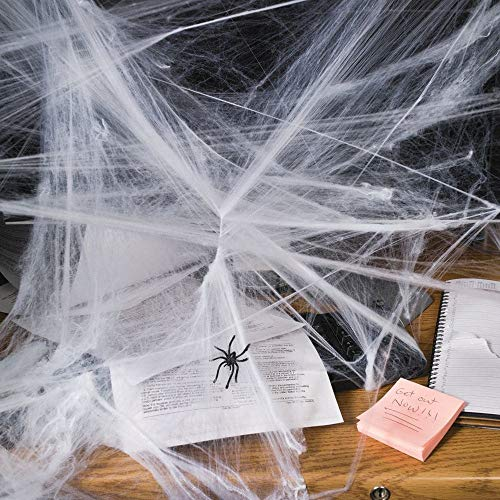 (Fun Express Halloween Spider Webs Spiderwebs With Plastic Spiders - 12 Packs)