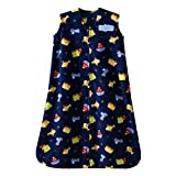 HALO - SleepSack Micro-Fleece Wearable Blanket, Navy Travel Print - Small