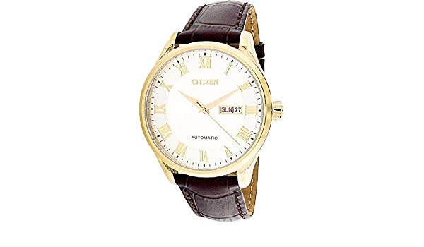 Amazon.com: Citizen Mens NH8363-14A Gold Leather Japanese Automatic Dress Watch: Citizen: Watches