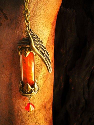 Phoenix Down Vial Necklace - Gamer Themed Jewelry - Phoenix Potion - Phoenix Feathers - Bottle Necklace ()