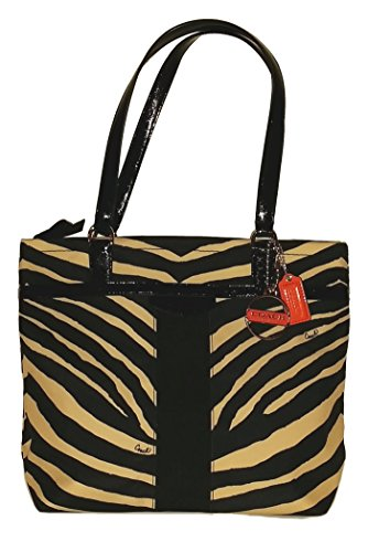 - Coach Signature Zebra Print Tote Shoulder Bag 23283