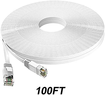 TBMax Cat6 Ethernet Cable 100ft with RJ45 Connectors Cable Clips /& Labels 100 Feet Long Flat Network LAN Cable for Computer//Router White