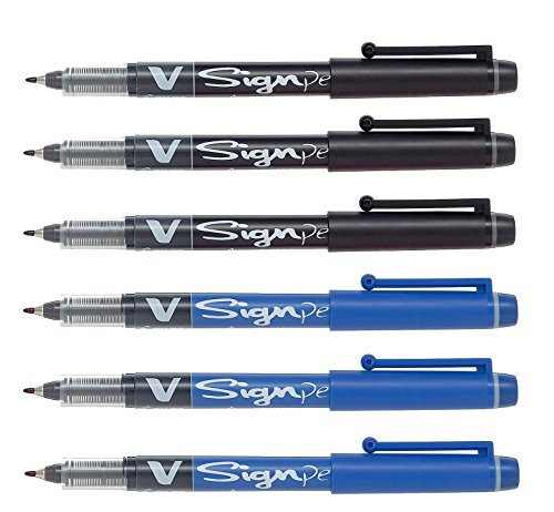 - Pilot Pens V Sign Felt Tipped fineliner Liquid Ink Pen, Bold Point, Black & Blue Bundle, 6 Pen