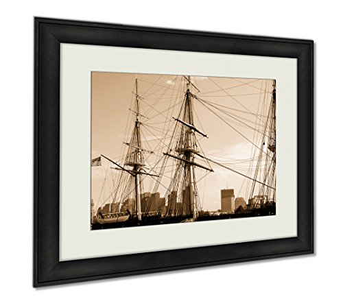 Uss Constitution Pictures (Ashley Framed Prints Uss Constitution, Wall Art Home Decoration, Sepia, 34x40 (frame size), AG5485327)
