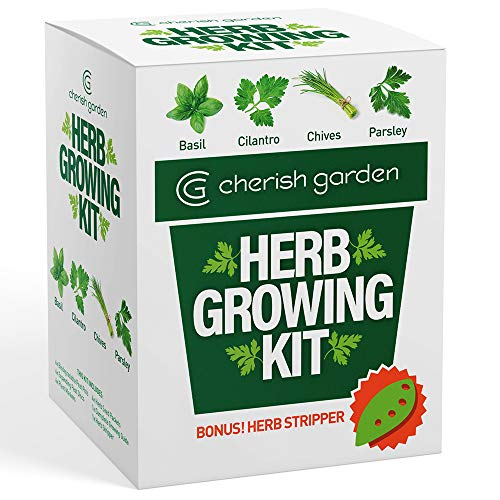 ( Herb Garden Starter Kit Indoor - DIY Kit for Growing Basil, Cilantro, Parsley, Chives from Seeds - Complete Guide & Bonus Herb Stripper - Indoor Herb Garden by Cherish Garden)