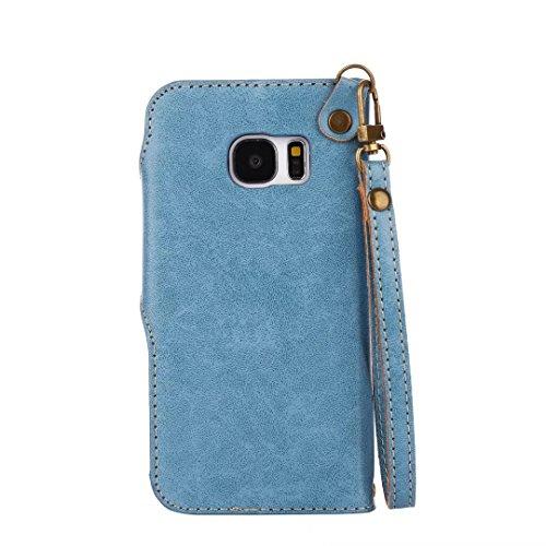 COWX Samsung Galaxy S7 Hülle Kunstleder Tasche Flip im Bookstyle Klapphülle mit Weiche Silikon Handyhalter PU Lederhülle für Samsung Galaxy S7 Tasche Brieftasche Schutzhülle