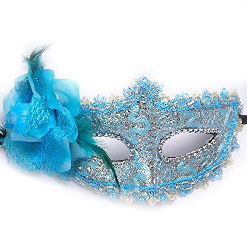 LBAFS Halloween Mask Lace Leather Lily Princess with Flower Venetian Mask for Masquerade Party Performance,D ()